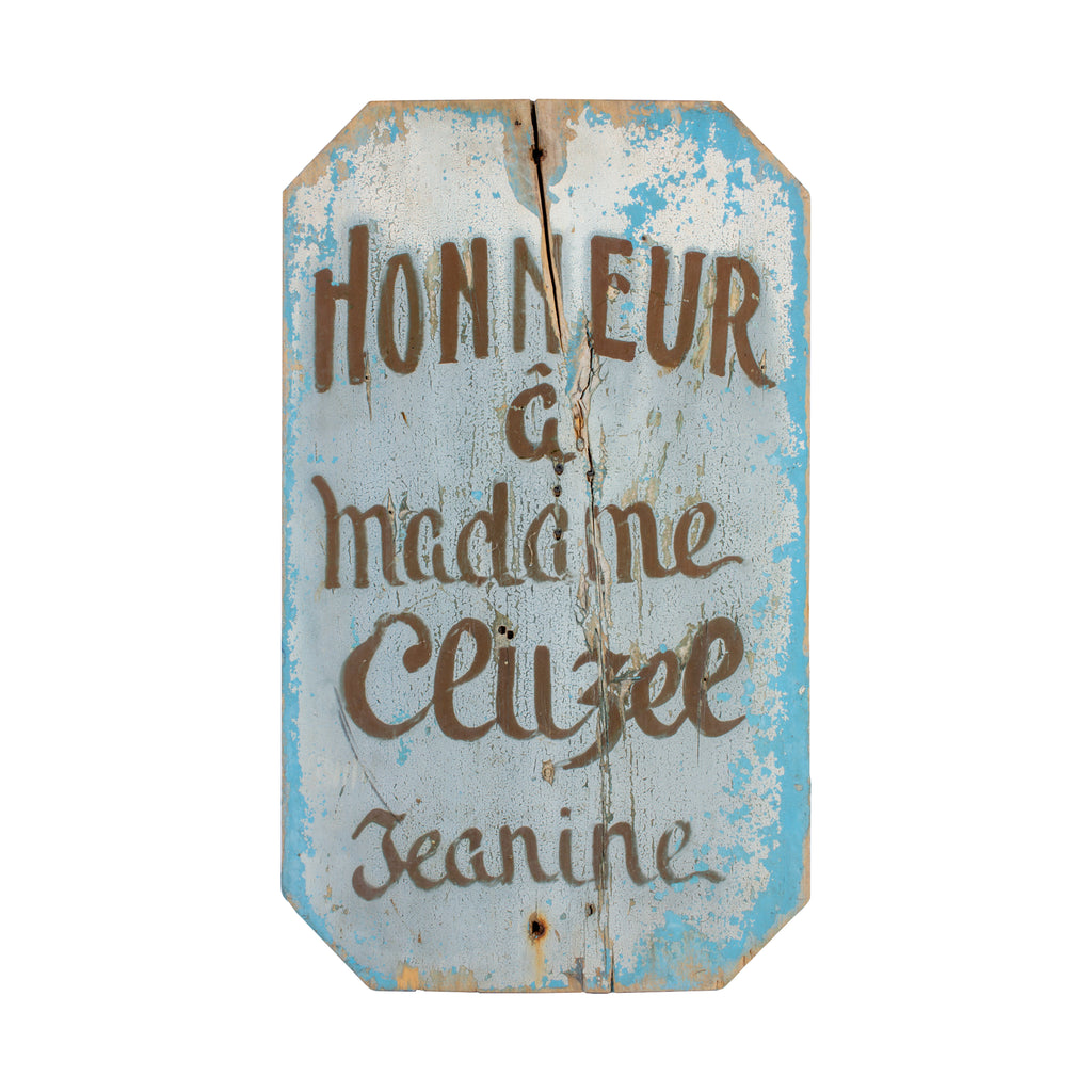 Antique French Painted Wood Sign