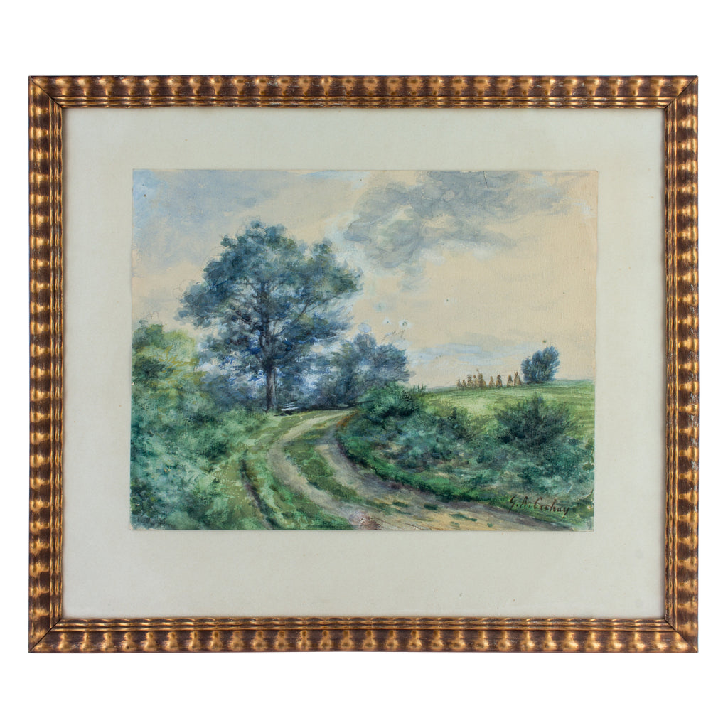 Vintage French Watercolor in Gilt Frame