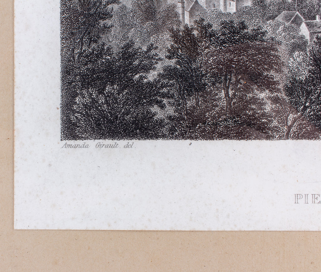 Small Framed Antique French Etching of Pierrefonds Chateau in France