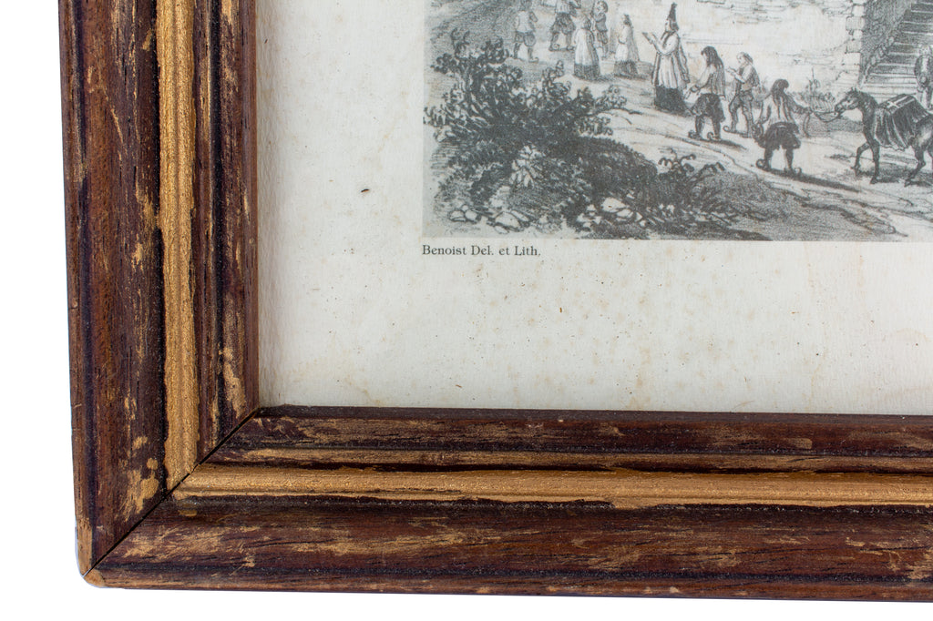 "Framed Antique French Print ""Chateaulin"""