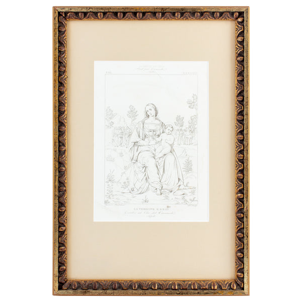 Framed European Religious Print in Gilt Frame