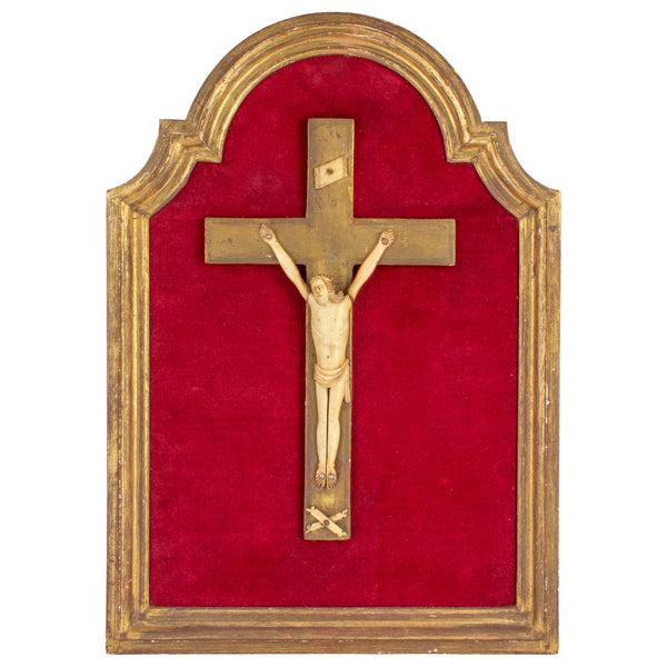 Vintage French Crucifix on Red Velvet & Gilt Plaque