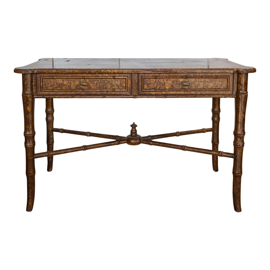 20th Century Boho Chic Bamboo Desk with Tortoise Finish