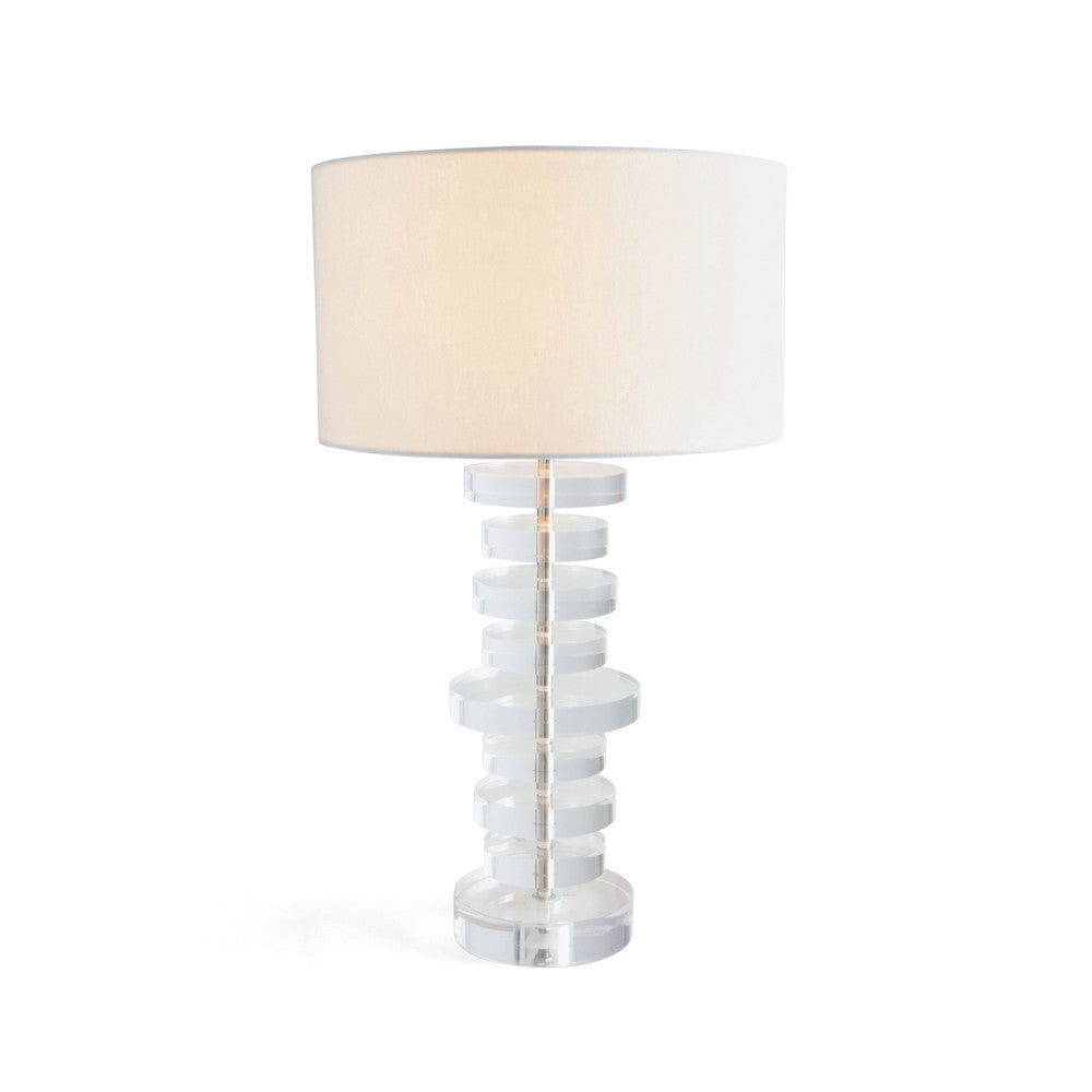 Stacked Acrylic Lamp with Linen Shade