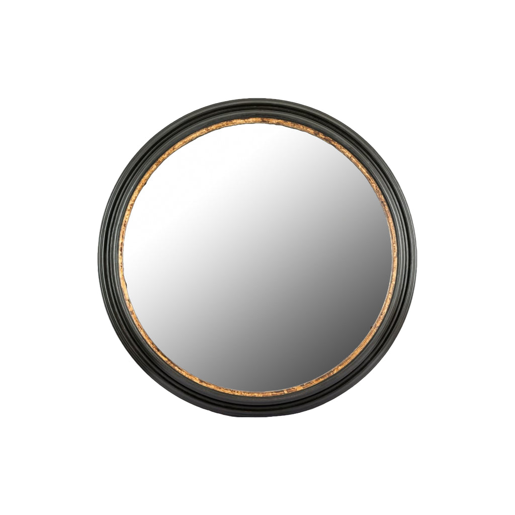 Hand-Carved Black & Gilt Round Mayson Mirror