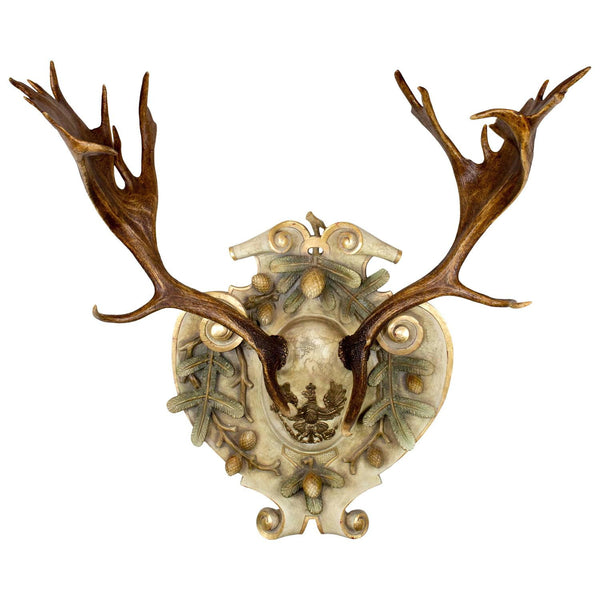 19th Century Austrian Fallow Deer from Eckartsau Castle on Hand-Carved Plaque