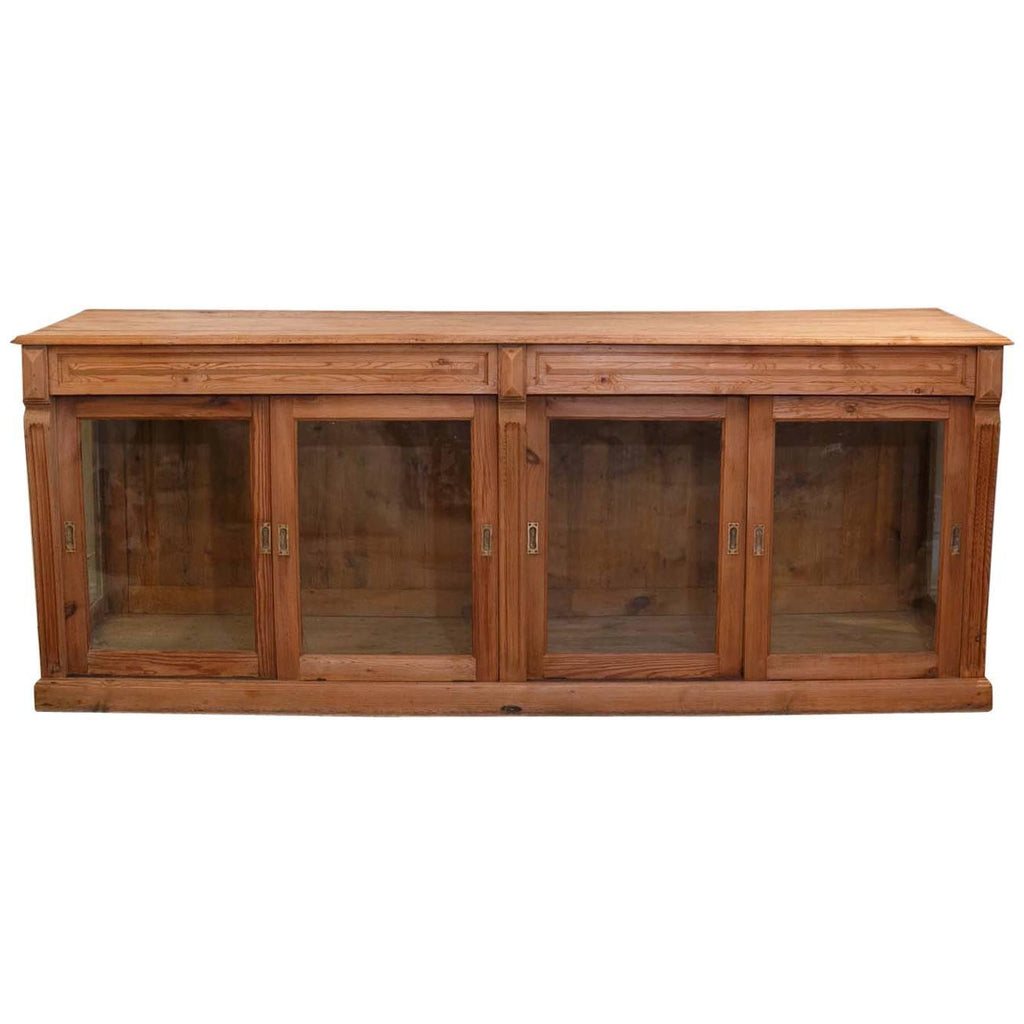 Large Belgian Stripped Pine Sideboard and Shopkeeper's Counter