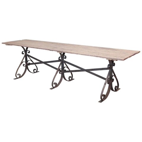 Long Antique French Wine Table