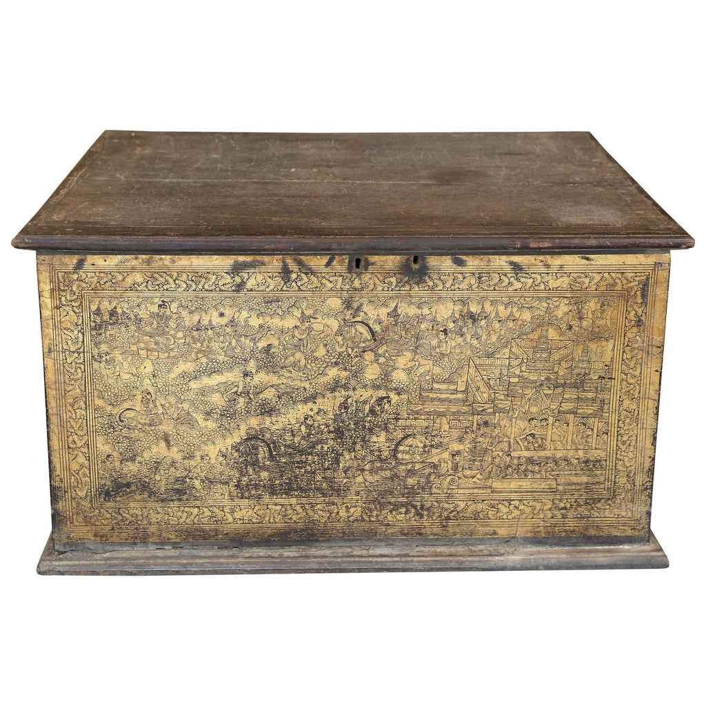 19th Century Burmese Trunk with Gilt Scenes