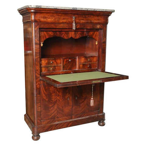 19th Century French Louis Philippe Desk with Marble Top