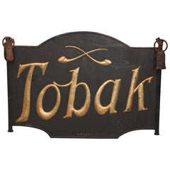 "19th Century Danish Iron ""Tobak"" Tobacco Sign with Gold Lettering"
