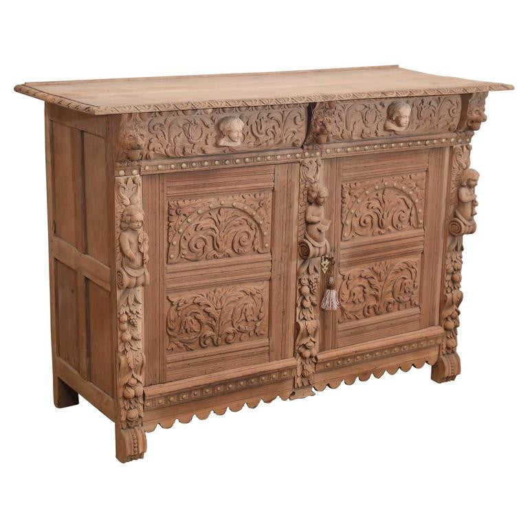 Early 19th Century Carved Oak Cabinet from Belgium