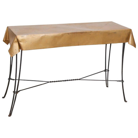 Vintage French Console Table in Metal