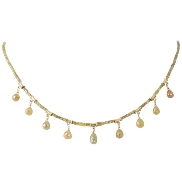 Natural Colored Diamond Briolette Necklace with 18 Karat Yellow Gold