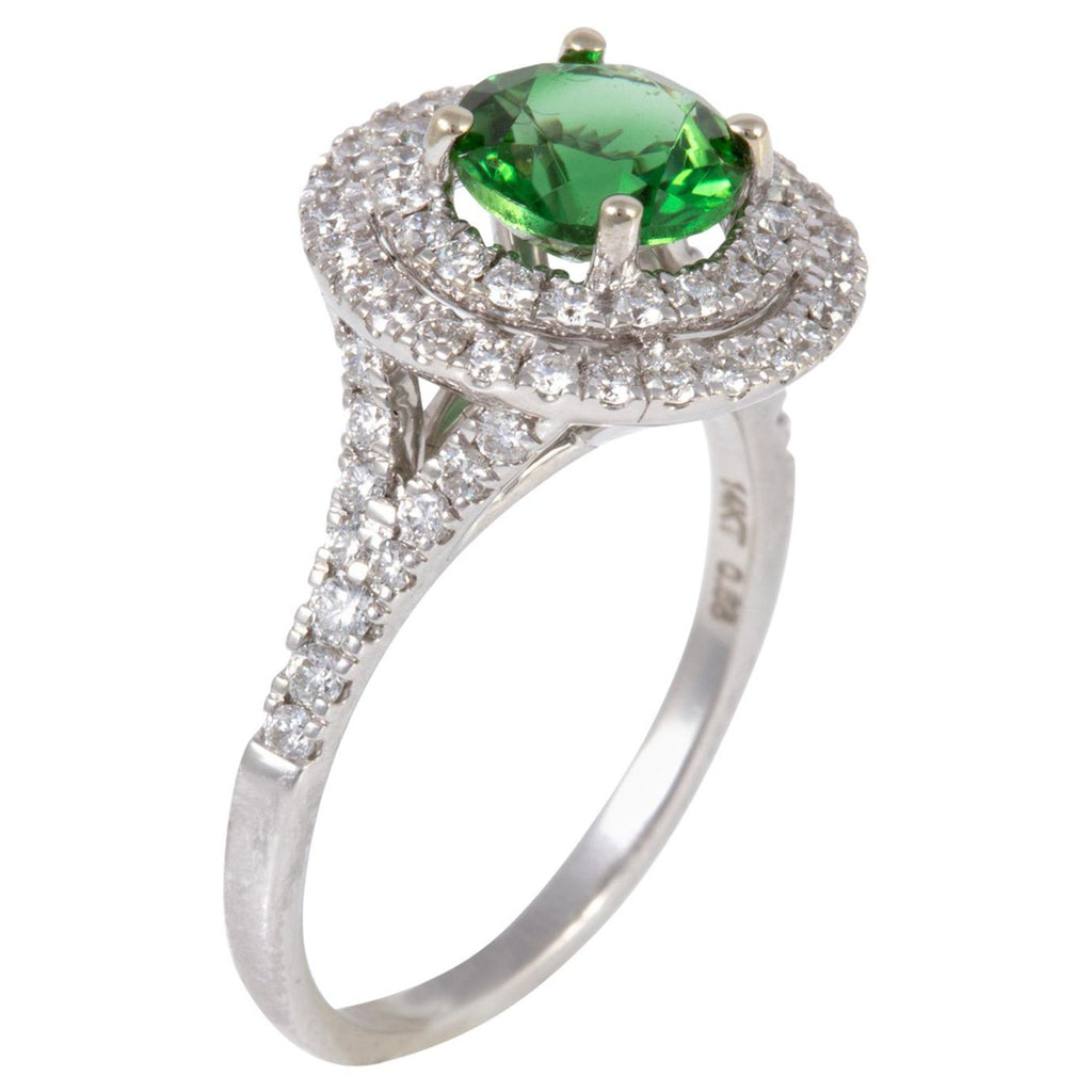 Exceptionally Well Cut 1.26 Carat Chrome Tourmaline and Diamond Ring