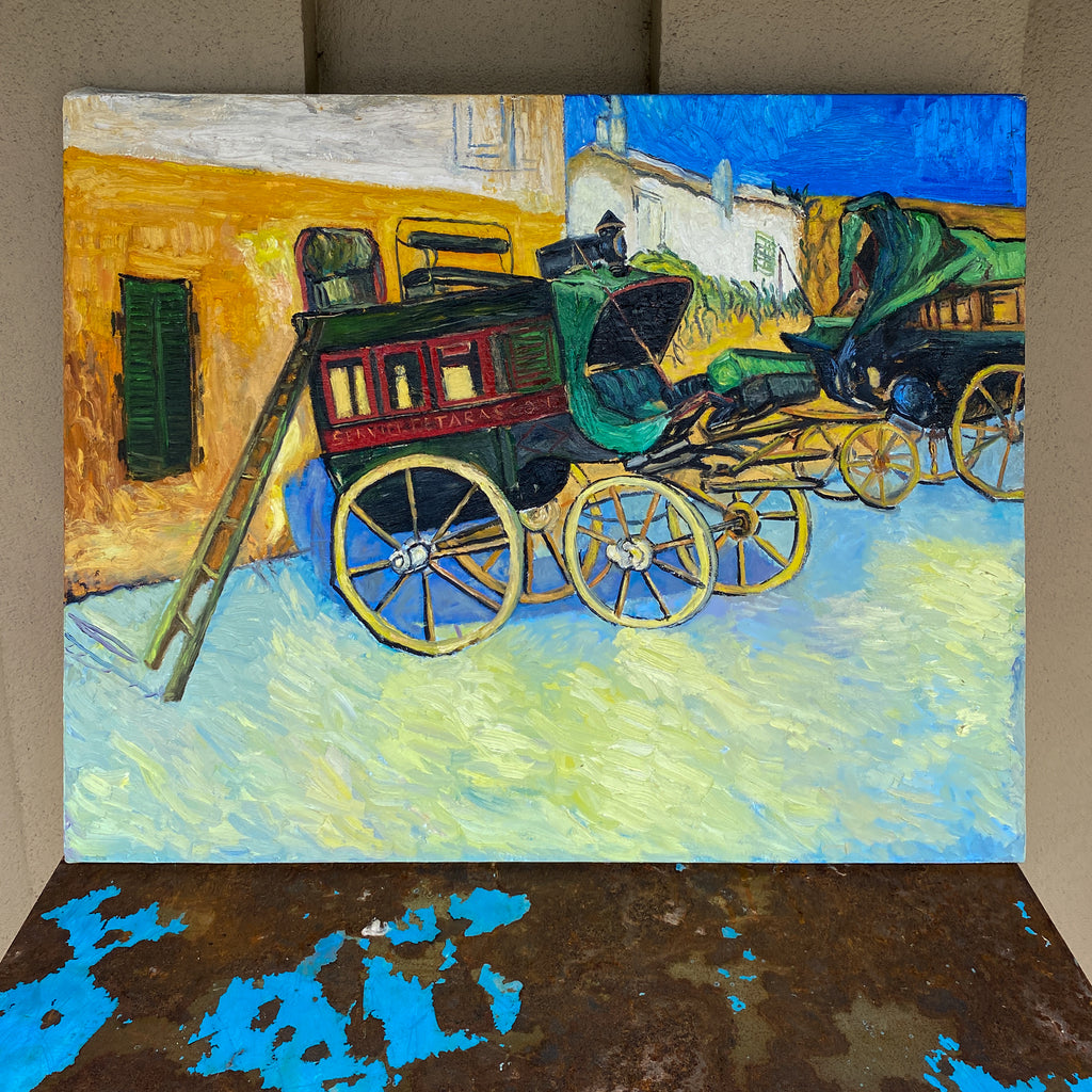 Vintage French Impressionist Painting - Study of Van Gough's Wagons