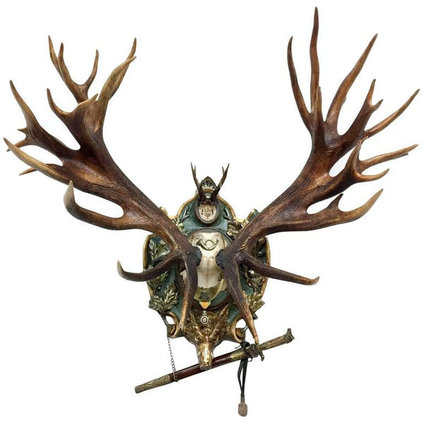 19th Century Habsburg Red Stag & Roe Deer Trophy with Hunt Sword & Gorget