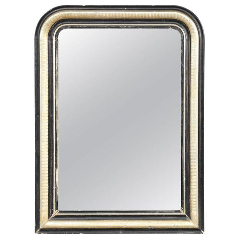 Antique French Louis Philippe Mirror in Black and Silver Gilt