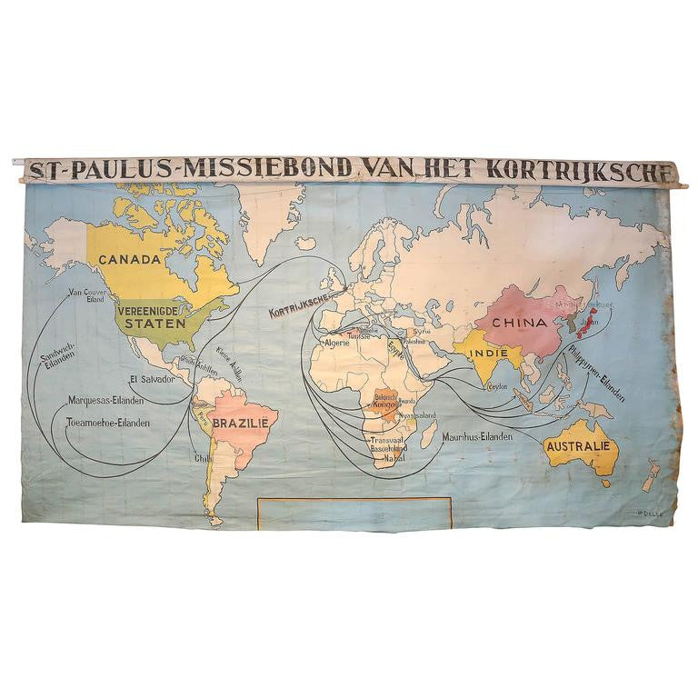 Antique Canvas World Wall Map of St. Paul's Church of Kortrijk, Belgium