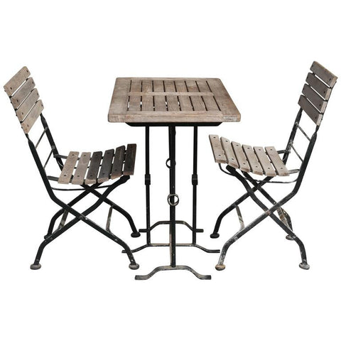 Vintage Belgian Teak and Iron Garden Dining Set (3 sets available)
