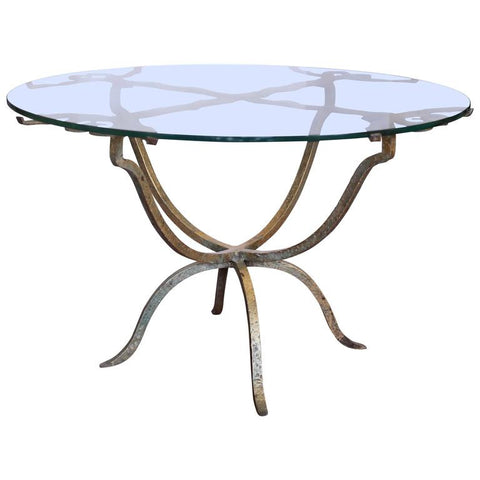 Antique French Gilt Iron and Glass Coffee and Cocktail Table