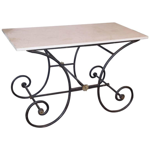 Antique French Iron and Marble Top Pastry or Butcher Table