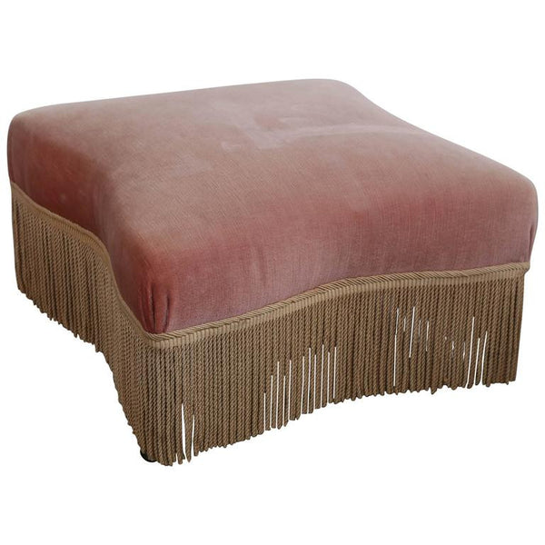 Antique French Rose Velvet Ottoman with Rope Trim from the 1920s