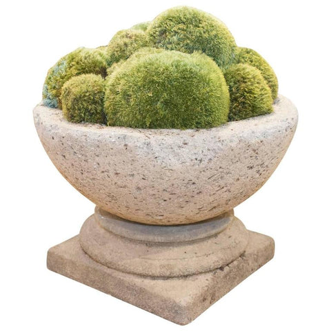 Large Cast Hypertufa Stone Bowl and Moss Centerpiece