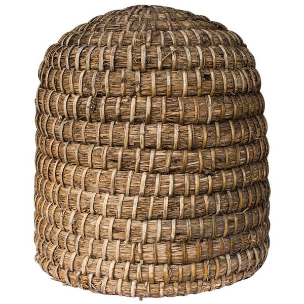 Antique French Woven Straw and Wicker Skep Beehive