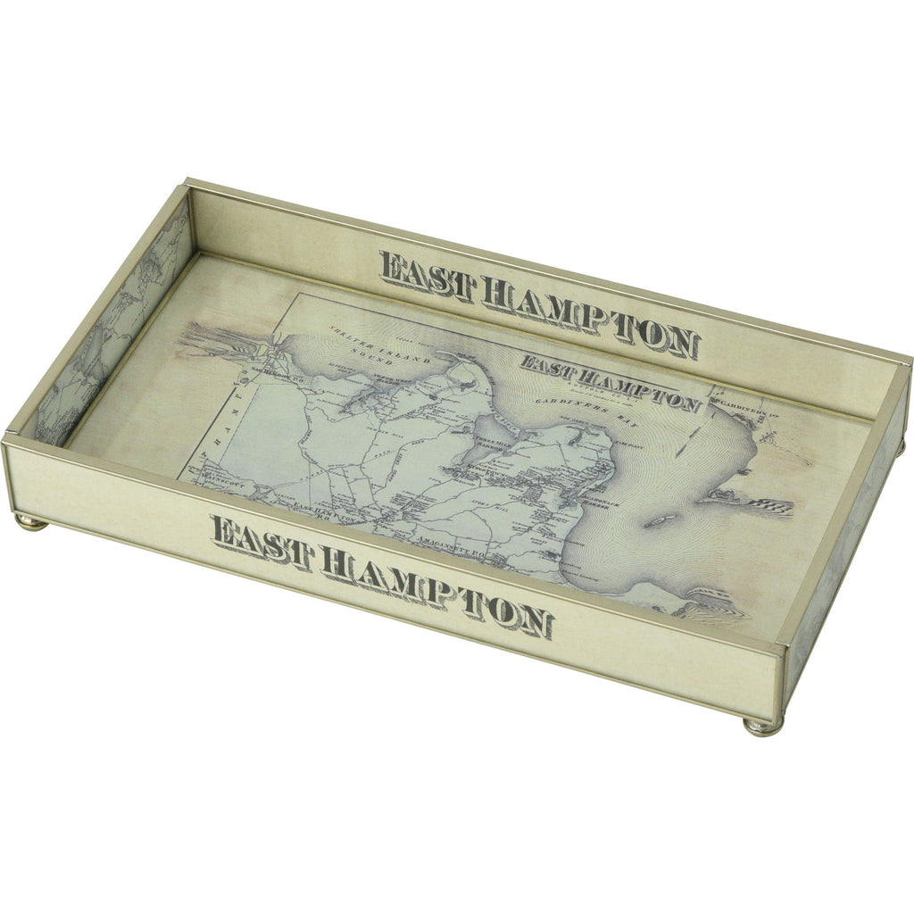 East Hampton Map Nickel & Glass Tray