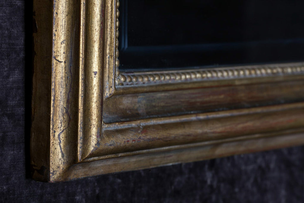 Hand-Carved Napoleon III Style Gilt Louis Philippe Beveled Mirror - Small