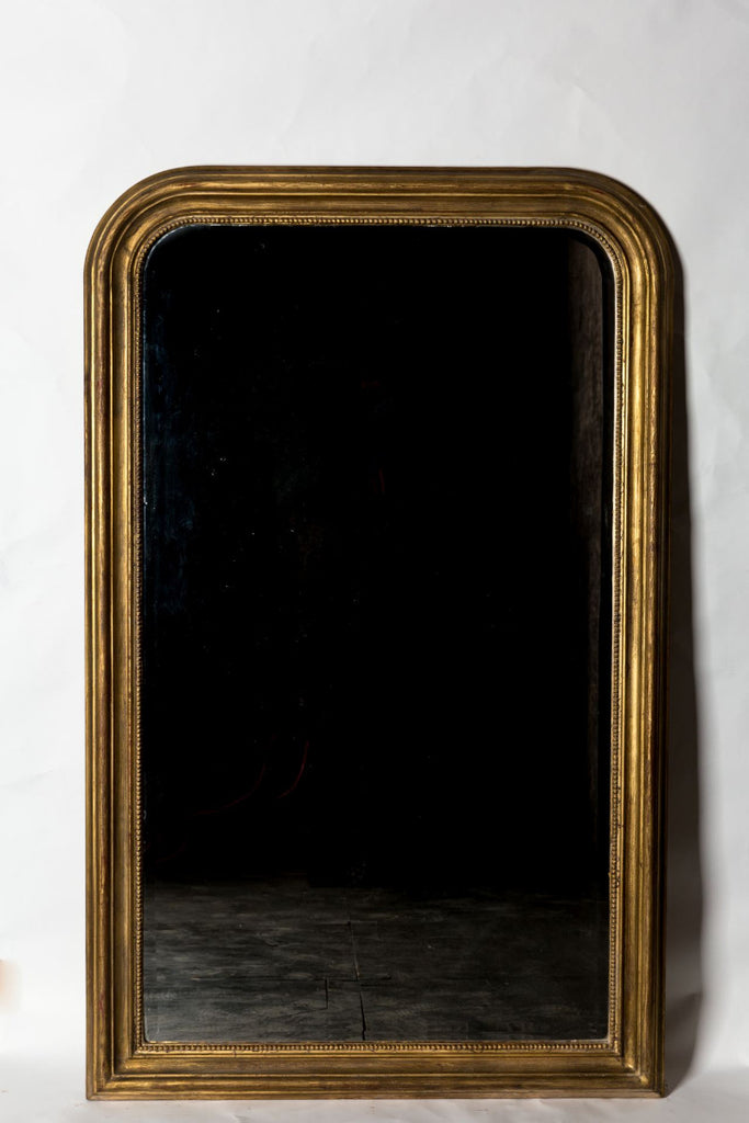 Hand-Carved Napoleon III Style Gilt Louis Philippe Beveled Mirror - Large