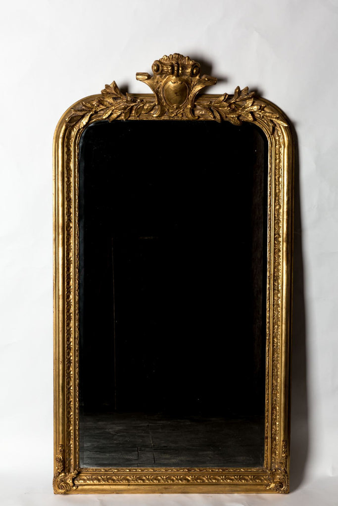 French Philippe Hand-Carved Beveled Mirror in Hand Gilt Frame