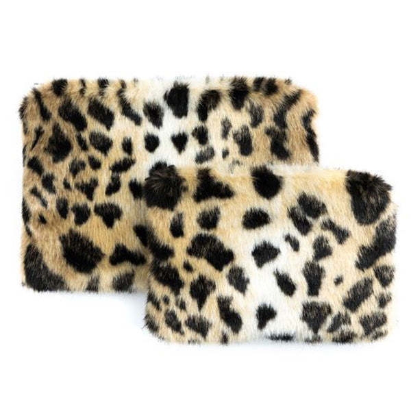 Leopard Faux Fur Travel Pouches | Set of Two