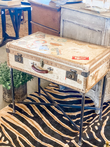 Side Table Crafted with Antique French Luggage & Custom Iron Base