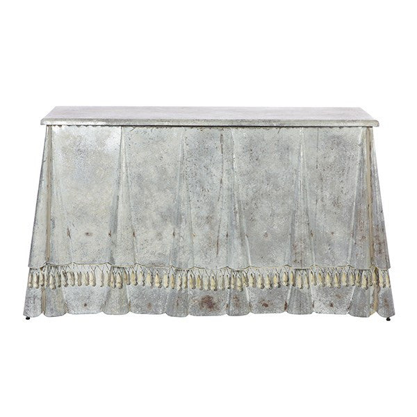 Billings Skirted Zinc Console Table