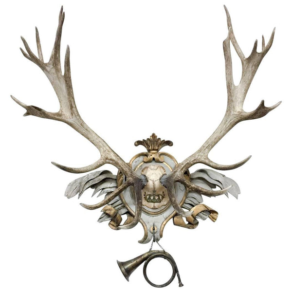 Antique Habsburg Red Stag on 18th Century Acanthus Leaf & Gilt Ribbon Plaque