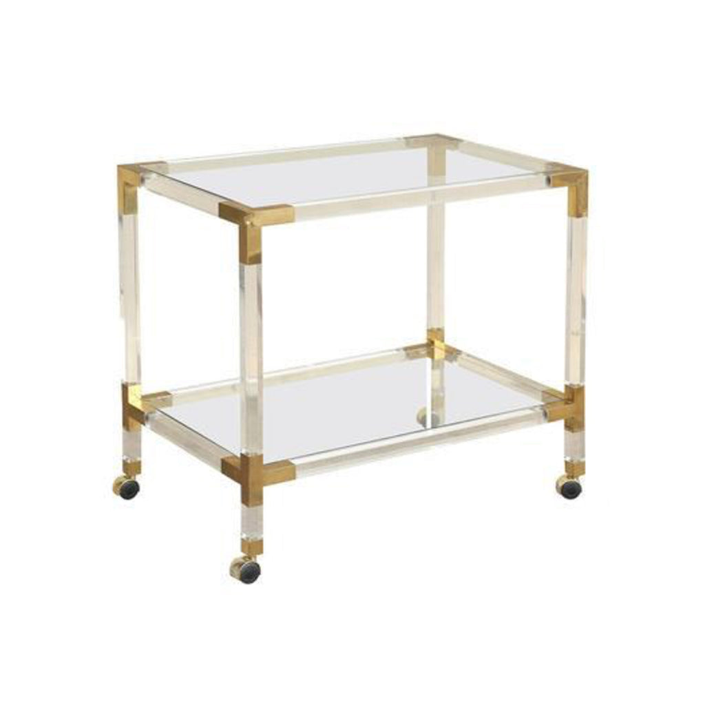 Mid Century French Rolling Bar Cart in Lucite Acrylic & Brass