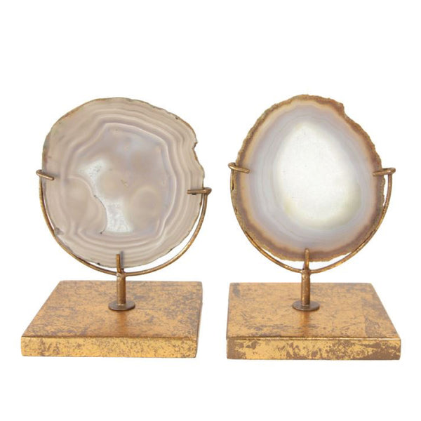 Sliced Agate on Burnished Gold Stand