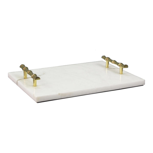 Rectangular Marble Tray with Polished Brass Handles