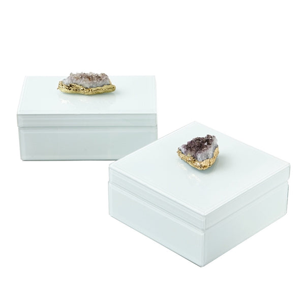 Amethyst & Glass Hinged Box (Two Styles Available)