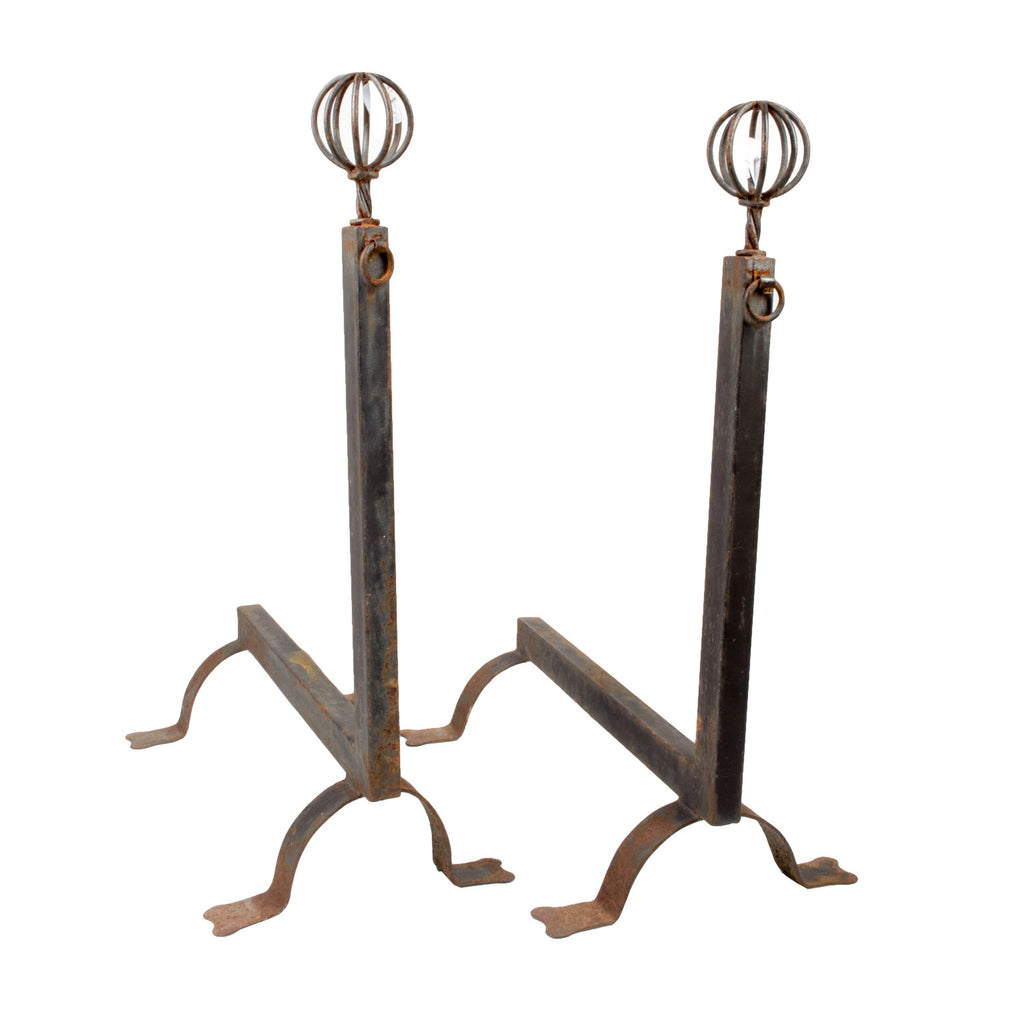 Large Antique Andirons with Finials