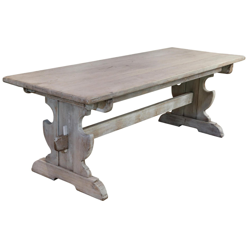 Antique Belgian Oak Trestle Dining Table in Greige Wash