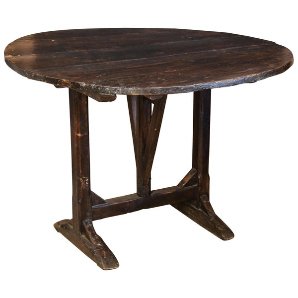 Antique French Wood Tilt-Top Vineyard Harvest Table