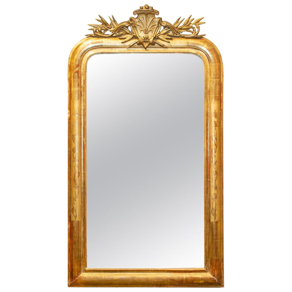 Antique French Gilt Louis Philippe Mirror with Ornate Cartouche and Floral Frame