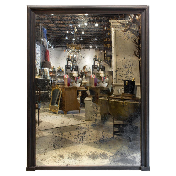 Antique French Full-Length Mirror in Handprinted Black Frame