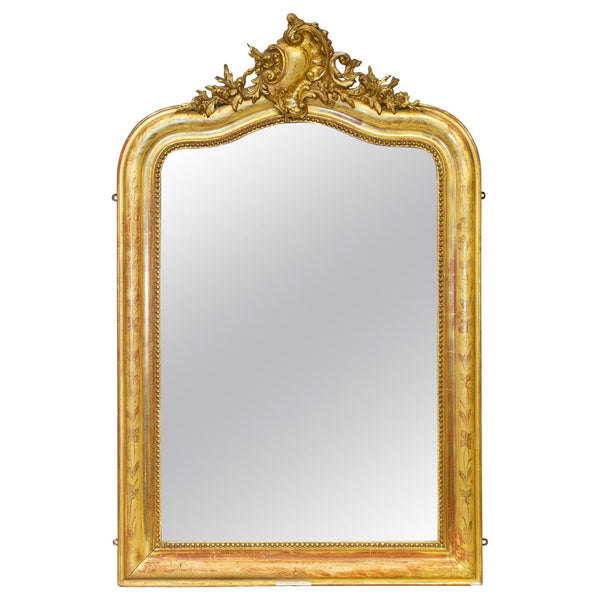 Antique French Louis Philippe Gilt Mirror with Scroll Cartouche & Floral Details