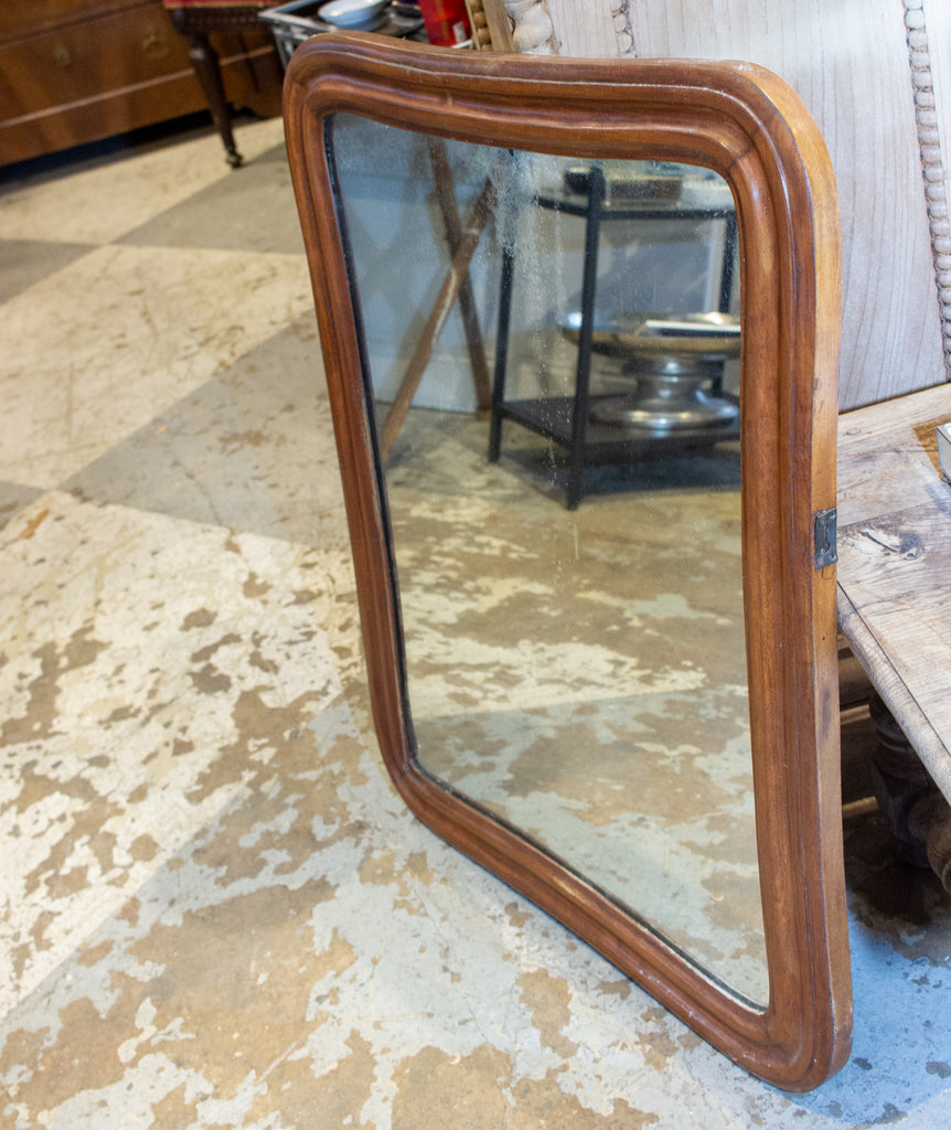Antique French Carved Oak Mirror with Original Glass