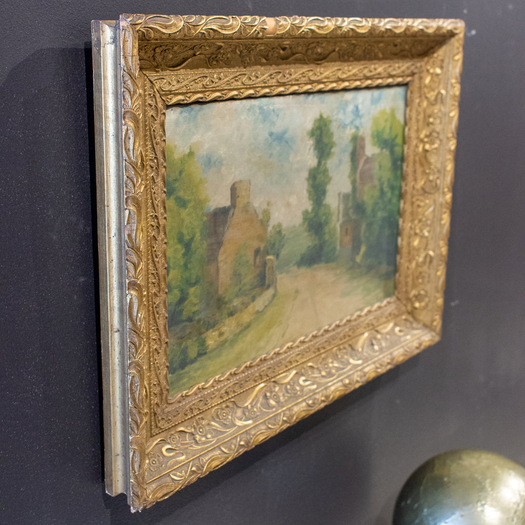 Antique French Painting in Gilt Frame, Signed & Dated