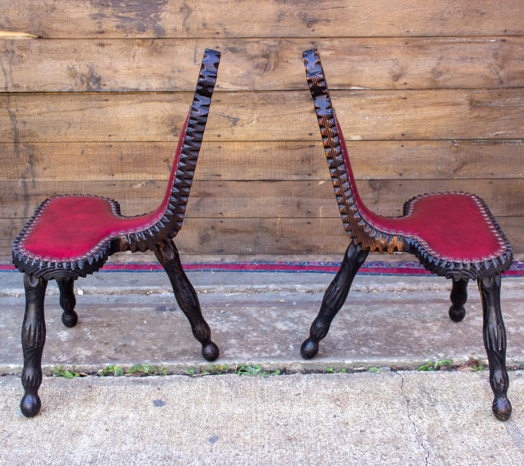 Pair of Antique Spanish Carved Wood & Red Leather Stools